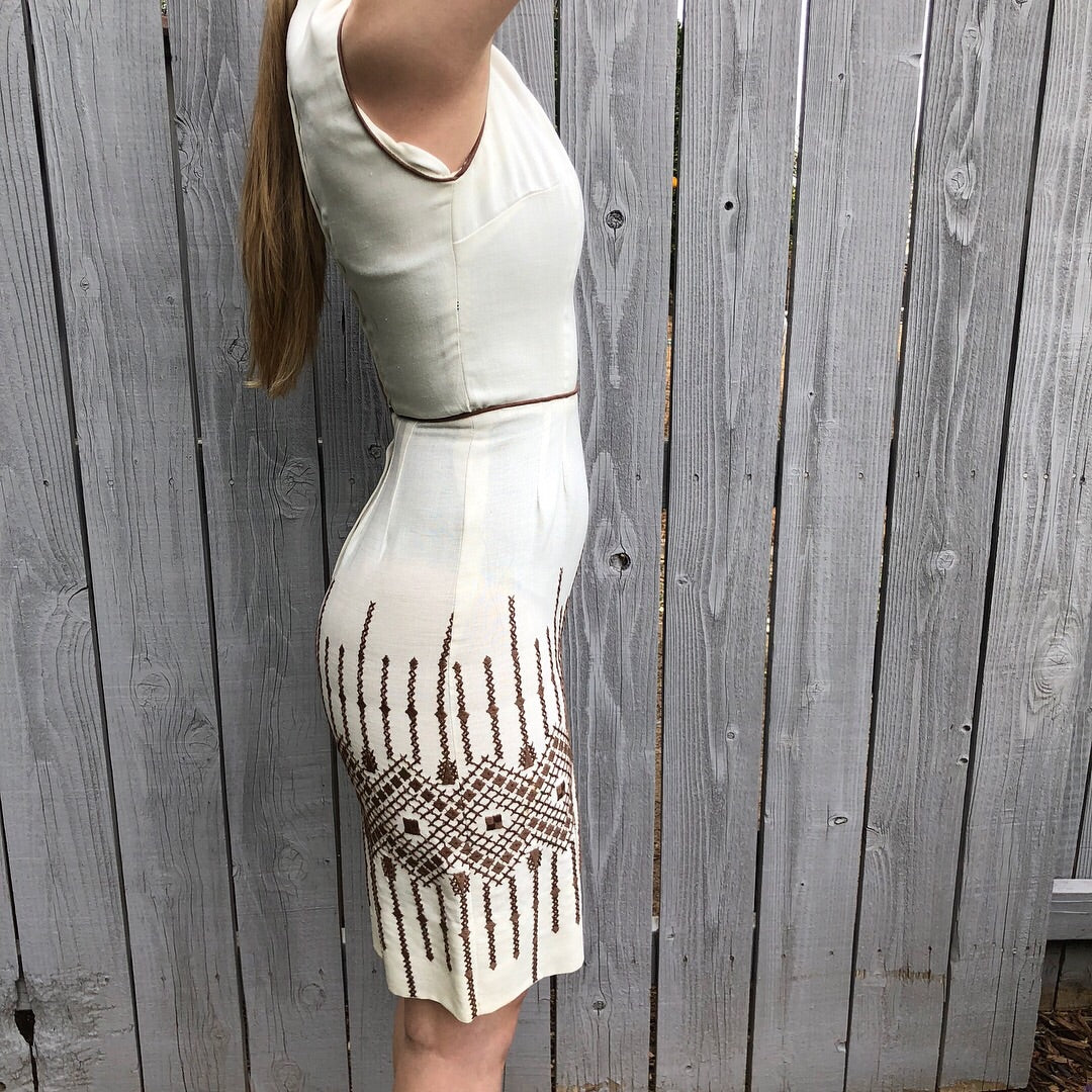 1960's Embroidered Linen Dress