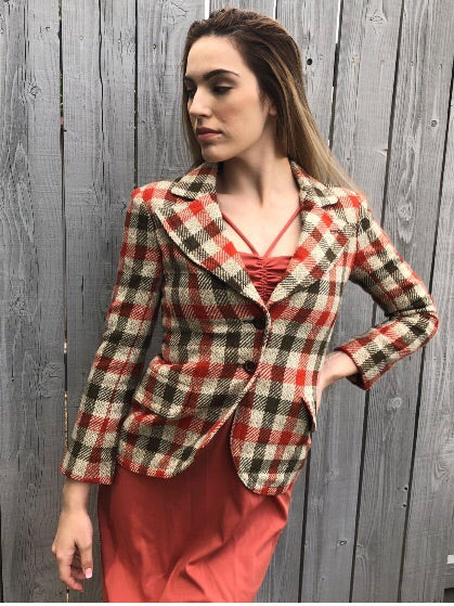 1970's Vintage Plaid Blazer