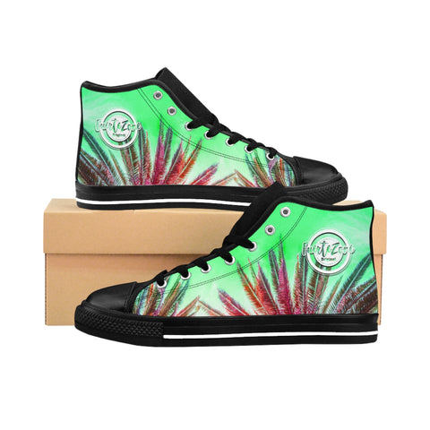 Herren High-top Canvas Sneaker - Green Palmtrees