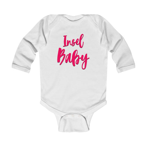Langarm Baby Body - Insel Baby pink