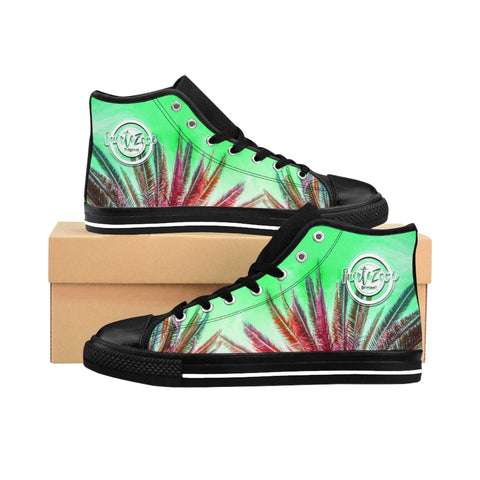 Damen High-top Canvas Sneaker - Green Palmtrees