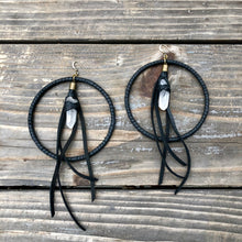 Load image into Gallery viewer, LEATHER EARRINGS BLACK