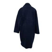 Load image into Gallery viewer, LONG FAUX SHEARLING TRENCH INDIGO