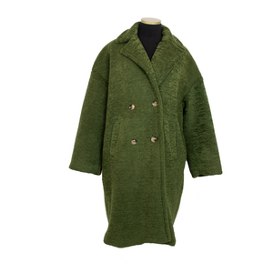 LONG FAUX SHEARLING TRENCH MILITAIRE