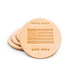 COASTER 4 PACK WORK HARD, LIVE WELL - VEG TAN