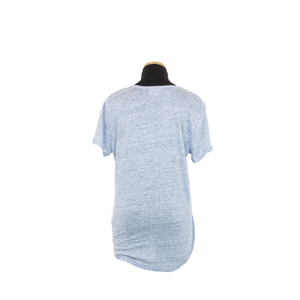 LINNIE V NECK HEATHER BLUE