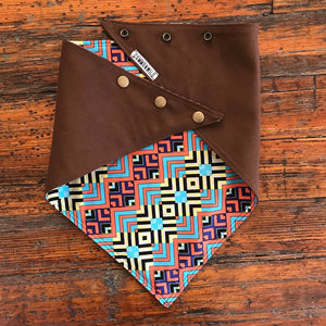 BANDANA Brown Bull Denim w/ blue Orange Geo print