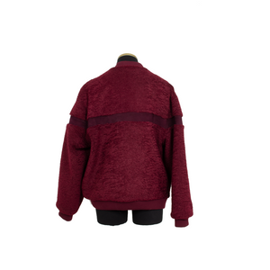 SHORT FAUX SHEARLING VARSITY OXBLOOD