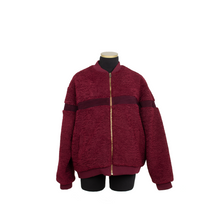 Load image into Gallery viewer, SHORT FAUX SHEARLING VARSITY OXBLOOD