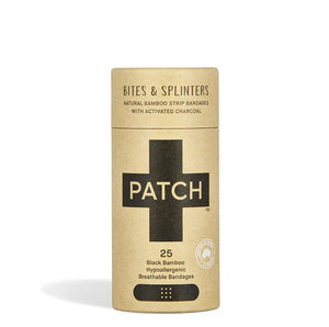 PATCH Activated Charcoal Adhesive Bandages - Bites & Splinters - Tube of 25 - Live Pure and Simple