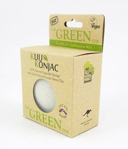 KUU Konjac Sponge with French Green Clay : For Oily and Combination Skin Types - Live Pure and Simple