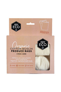 EverEco Organic Cotton Muslin Produce Bags 4 Pack - Live Pure and Simple