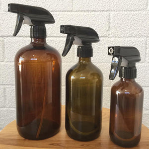 Amber Glass Bottle with Trigger Spray - Live Pure and Simple