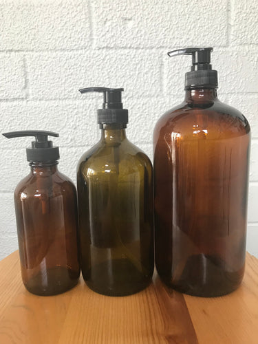 Amber Glass Bottles with Pump - Live Pure and Simple