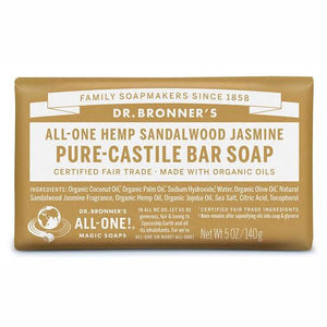 Dr. Bronner's Pure-Castile Bar Soap - Sandalwood Jasmine - Live Pure and Simple