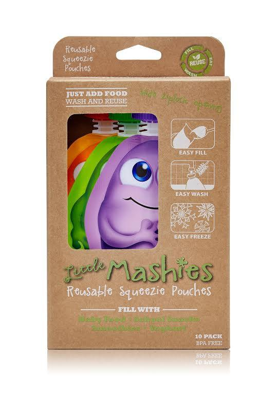 Little Mashies Reusable Squeeze Pouch 10pk (Mixed colours) - Live Pure and Simple