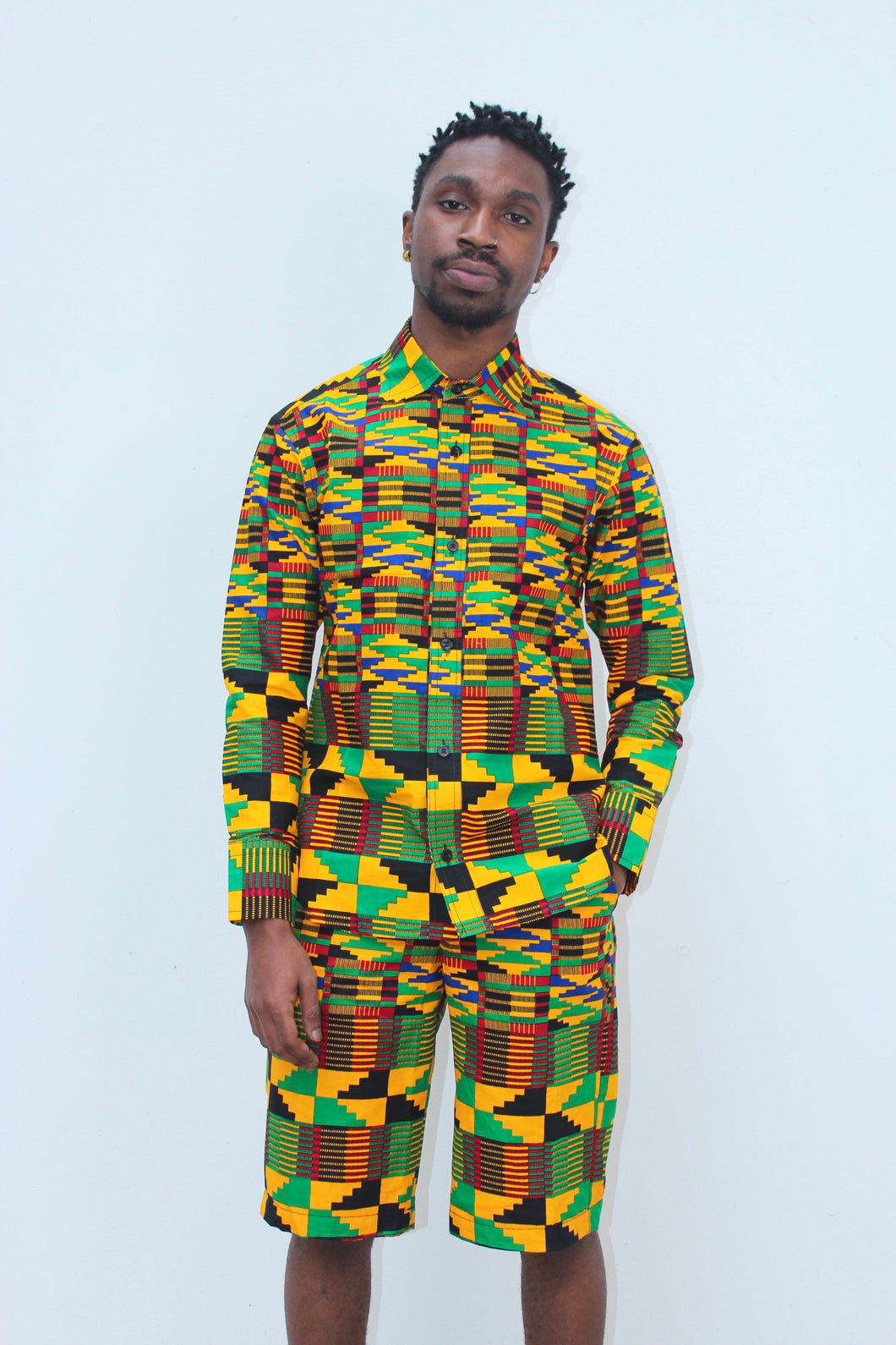 Jamaica Kente Shirt Long Sleeve
