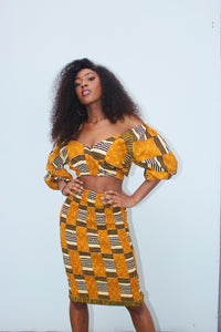 Golden Kente Midi Skirt
