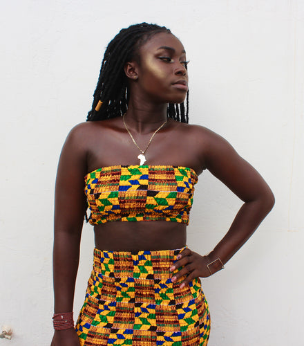 San Kente Bandeau Top