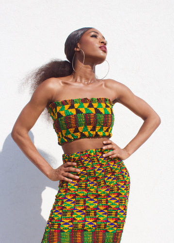 Jamaica Kente Bandeau Top