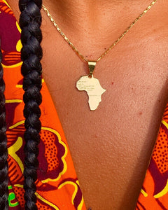 Africa Pendant Gold Small + Extra Necklace