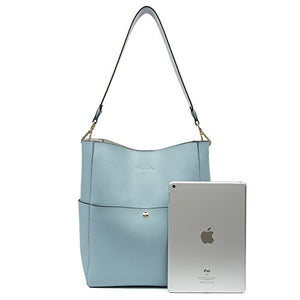BOSTANTEN Women's Leather Designer Handbags Tote Purses Shoulder Bucket Bags Light Blue