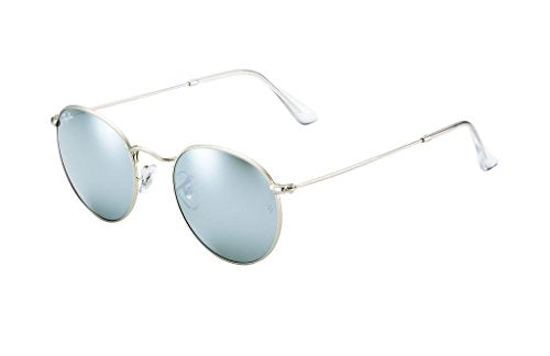 Ray Ban RB3447 019/30 50 Matte Silver/Mirror Round Sunglasses Bundle-2 Items