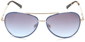 Andrea Jovine Women's A685 Aviator Sunglasses,Gold And Blue Frame/Gradient Blue Lens,one size