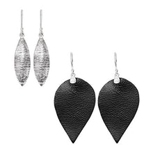 Silpada'sterling Silver and Leather Layered Leaf Drop Earrings