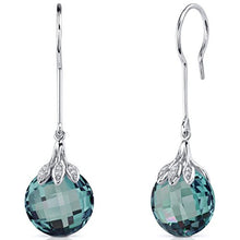 18.00 Carats Simulated Alexandrite Dangle Earrings Sterling Silver Double Sided Checker Cut