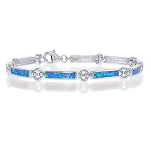 "Sterling Silver 7"" Created Blue Opal Bar Link Bracelet"