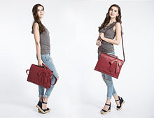 "ECOSUSI Ladies PU Leather Laptop Bag Briefcase Crossbody Messenger Bags Satchel Purse Fit 14"" Laptop, Red"