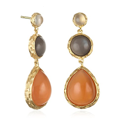 Gold Plated Silver 3 Tier Earring with Peach and Grey Moonstone and Mother of Pearl