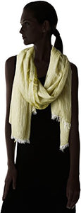 La Fiorentina Women's Italian Collection Frayed-Edge Scarf, Green, One Size