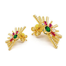 Sterling Silver Earrings Mismatched CZ Art Deco Yellow Gold Flashed Pink Green Women Post Stud