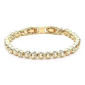 MYJS Tennis 16k Gold Plated Classic Bracelet with Golden Shadow Swarovski Crystals , 17+2cm Extender