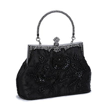 Chichitop Women's Embroidered Beaded Sequin Evening Clutch Large Wedding Party Purse Vintage Bags (Black)