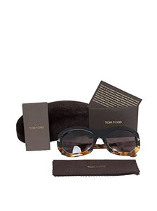 Tom Ford Women's FT0382-05A Amy Rectangular Sunglasses, Black/Havana