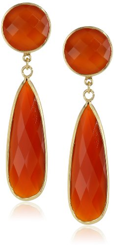 Sterling Silver Faceted Gold Plated Red Onyx Gemstone Drop Earrings