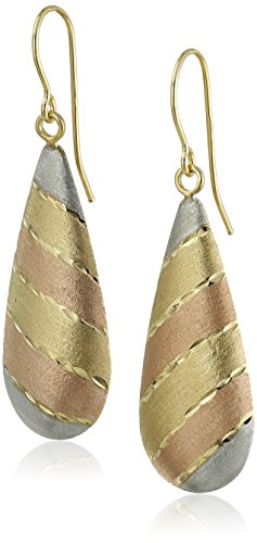 14k Gold Tri-Color Teardrop Satin Finish Drop Earrings