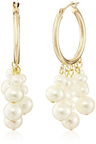 14k Yellow Gold 5-Rows White Cultured Freshwater Pearl Hoop Dangle Earrings (3.5-4mm and 6-6.5mm )