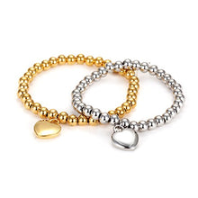 Wistic Women's Stainless Steel Gold Plated Expandable Love Beaded Charm Bracelet