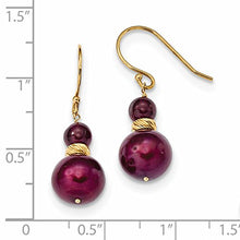 ICE CARATS 14k Yellow Gold Red Garnet 10mm Cranberry Freshwater Cultured Pearl French Wire Drop Dangle Chandelier Earrings Fine Jewelry Gift Set For Women Heart