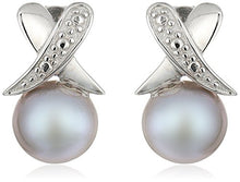 Sterling Silver Illusion X-Style 8-8.5mm Dyed-Grey Freshwater Cultured High Luster Pearl Stud Earrings