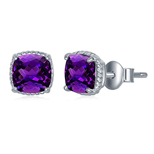 Sterling Silver Genuine Amethyst Square 6mm Natural Gem Birthstone Stud Earrings