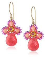 Miguel Ases Pink Coral and Jade Drop Earrings