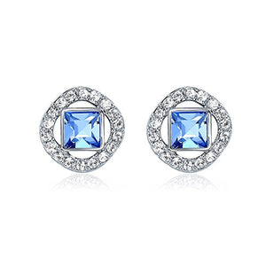 MYJS Angelic Square Earrings with Swarovski Light Sapphire Crystals Rhodium Pt