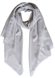 Ellettee, Silver Fashion 96% Cashmere Scarf Classic Premium Shawl Luxurious Elegant Solid Color Wrap Art Oversized Shawl Wrap Oblong Stole Perfect Christmas Present