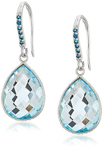 Sterling Silver Blue Topaz Pear Dangle Earrings