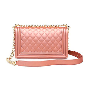 Classic Silicon Quilted Crossbody Bag Luxury Shoulder Handbags Purses For Womens Girls (Pink S)